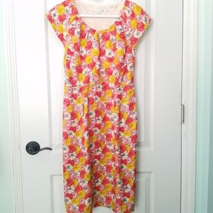 Boden Silk Dress Pink Yellow Pansy Floral Size 6